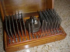 UNUSUAL VINTAGE WATCH STAKING SET IN ANTIQUE WOOD BOX (WATCHMAKERS TOOLS)