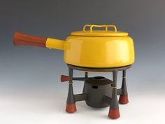 Vintage Dansk Kobenstyle Yellow Fondue Pot With Cast Iron, Teak Stand and Burner Cover - Jens Quistgaard Design - Mid Century Danish Modern by EightMileVintage on Etsy