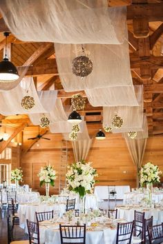 Your wedding reception will not be awesome if you don't have any cool decoration for it. If you have an indoor wedding reception, then you should focus on decor Barn Wedding Decorations, Wedding Themes, Wedding Venues, Barn Weddings, Wedding Ideas With Tulle, Wedding Dresses, Trendy Wedding, Fall Wedding, Dream Wedding