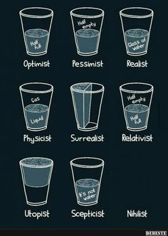 Half Glass of Er Half Optimist Pessimist Realist Half Empty Half Physicist Surrealist Relativist Water Utopist Scepticist Nihilist Funny Quotes, Funny Memes, Art Quotes, Funny Sarcasm, Funniest Memes, Physicist, Empty, Fun Facts, Haha