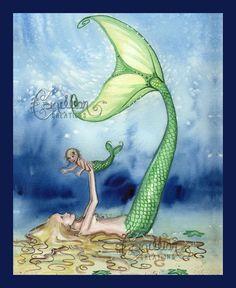 Mermaid and child print