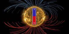 magnetisch veld: Het magnetisch veld van de zon gaat zich op korte termijn omdraaien. Dat stellen wetenschappers op basis van observaties. Het zou binnen een maand of vier gaan gebeuren en kan wel eens stormachtig ruimteweer met zich meebrengen.