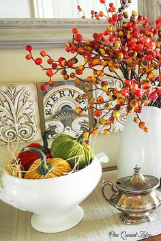 Ironstone, Velvet Pumpkins, Sid Dickens Tiles, and Hotel Silver make up this fall vignette