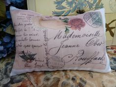 Pillow small accent one with real Vintage French postcard designed and made by Janet of Maisonvogue