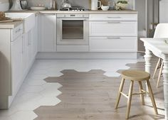 tiles and wood floor