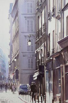 Une rue de Paris sous le soleil