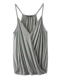 Choies Women's Blue/White Spaghetti Strap V-neck Ruffle Wrap Summer Tank Cami at Amazon Women's Clothing store: