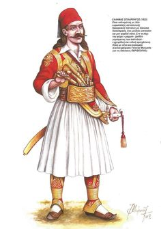 Greek War Chief (1822) Greek Independence, Albanian Culture, Greek Warrior, Greek History, Yesterday And Today, Folk Costume, Ancient Greece, Archery, Army