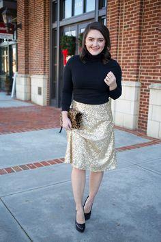 Gold Sequin Skirt via @maeamor black turtleneck crop top, leopard foldover clutch