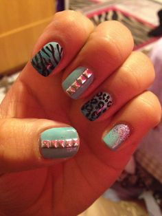 Green and blue cheetah/zebra nails with studs!