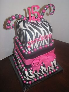 cake designs for a 13 year old girl   Birthday cake for a 15 year old girl who wanted zebra design with pink ...