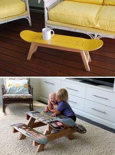 You can turn your old skateboard into new furniture – upcycling möbel - Diy Furniture Diy Furniture Hacks, Repurposed Furniture, Cheap Furniture, Furniture Makeover, Furniture Stores, Furniture Websites, Furniture Refinishing, Furniture Removal, Homemade Living Room Furniture