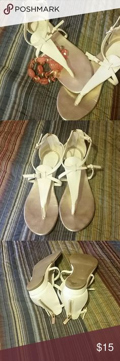 Super cute white & gold sandals White sandals with gold details and zipper to the back New York & Company Shoes Sandals