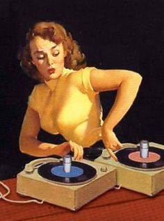 Dueling 45s...I think the symbolism here is pretty obvious! ~ vintage vinyl pin-up.
