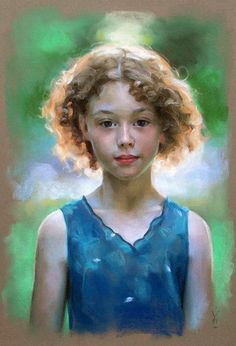 """Irish Girl"" - Miles Williams Mathis, oil on canvas {contemporary #impressionist art blonde female head curly hair face portrait painting} mileswmathis.com"