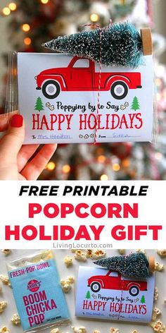 Make a homemade holiday gift with popcorn in the microwave and a red vintage truck-printable label for your friends, family … Easy Homemade Gifts, Homemade Christmas Gifts, Christmas Crafts, Christmas Ideas, Christmas 24, Christmas Printables, Christmas Recipes, Holiday Recipes, Xmas