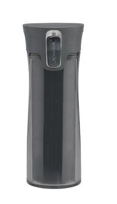 Contigo Bella Double Wall -juomapullo, musta     Contigo-juomapulloissa ja - termospulloissa on patentoitu Autoseal-kansi, jonka ansiosta juoma pysyy kylmää tai kuumana pidempään. Kannen juoma-aukko avautuu painikkeesta painamalla, ja tiiviste sulkeutuu heti, kun painikkeesta päästetään irti. Contigo-tuotteet eivät vuoda tai läiky kaatuessaan tai laukussa kuljetuksen aikana. Mekanismia on helppo käyttää yhdellä kädellä esimerkiksi urheilusuorituksen aikana tai autolla ajaessa.