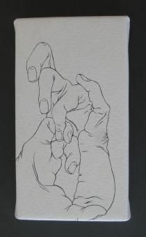 Tabaimo: 'hand knit', 2010. 18 x 11 cm. Japanese ink drawing on leather. Limited edition of 20. Sold out!