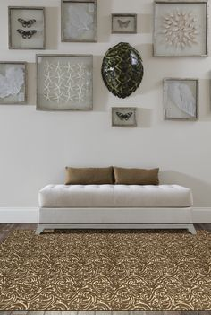 """HGTV HOME Flooring by Shaw area rug in style """"Good Karma"""" color Honey."""