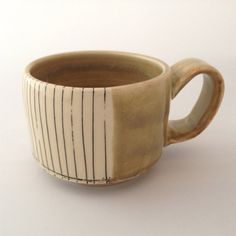 Wide Stripy Mug by AWKclayworks on Etsy (Home & Living, Kitchen & Dining, Drink & Barware, Drinkware, Mugs, mug, cup, coffee cup, pour over, coffee pour over, pottery, wheel-thrown)