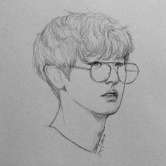 Discover recipes, home ideas, style inspiration and other ideas to try. Kpop Drawings, Anime Drawings Sketches, Anime Sketch, Kpop Fanart, Exo Fan Art, Simple Cartoon, Pencil Portrait, Art Sketchbook, Art Inspo