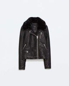 Image 6 of FAUX LEATHER JACKET WITH DETACHABLE FUR COLLAR from Zara