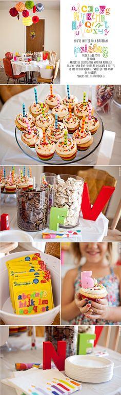 Rainbow Alphabet ABC birthday party!
