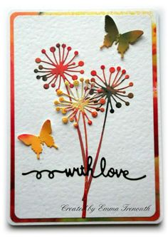 CAS with love, Memory box chandra stem, brusho coloured die cuts