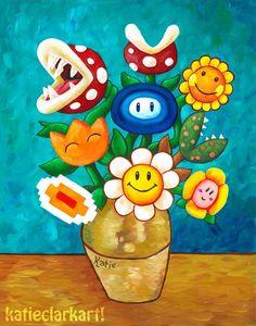Mario Van Gogh's Flower Vase by Katie Clark Fleurs Van Gogh, Van Gogh Flowers, Flowers Vase, Katie Clark, Gaming Wall Art, Clark Art, Plant Painting, Mario And Luigi, Objet D'art