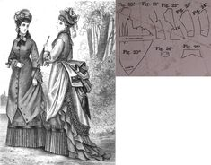 Cornelia 1875.: Summer walking dress of greyish-brown beige fabric with darker silk trimmings. Fig. 20. overdress' front part, fig. 21. side gore, fig. 22. back gore, fig. 23.-24. sleeve parts, fig. 25. cuff, fig. 26. pocket.
