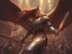 MtG Art: Aurelia, Exemplar of Justice from Guilds of Ravnica Set by Chris Rahn - Art of Magic: the Gathering Magic The Gathering, Character Portraits, Character Art, Character Design, Character Ideas, Character Inspiration, Mtg Art, Angel Warrior, Angels And Demons