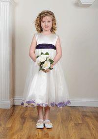 cadbury purple petal ivory or white flower girl dress