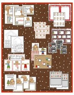 """This includes 9 math and literacy activities I created for my kindergarten classroom with a gingerbread theme.  ilovekindergarten $5 TPT  *Printables to create a """"First Bite"""" graph.  Have your kids take a bite of a gingerbread man and chart what their first bite was.  *Printables to create an ending punctuation chart about question marks, exclamation points, and periods.  *A teen number write the room."""