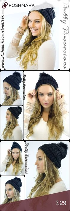 NWT Black Pom Pom Slouchy Beanie Hat NWT Black Pom Pom Slouchy Beanie Hat  One Size  Features  • warm, stretchy knitted material  • faux fur pom pom  Cotton Blend   Also available in Taupe, Navy, White, Red  Bundle discounts available  No pp or trades  Item # 1/101070290BBH Pretty Persuasions Accessories Hats