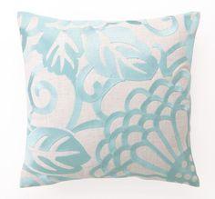 Robins Egg Blue Chrysanthemum - Embroidered Linen Pillow  $74.99