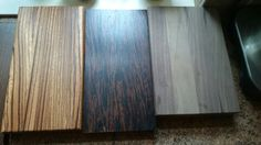 selection of woods left to right zebrano, wenge, wallnut