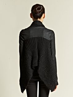Retune a pleather/ leather coat and a wool sweater. rick owens
