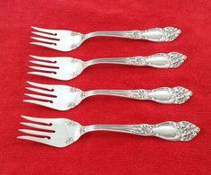 4 Salad Forks Tiger Lily / Festivity Reed & Barton Silverplate Flatware No Mono #ReedBarton