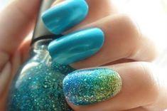 nail polish ombre nails glitter glittery sparkle blue aqua mermaid sinful colors statement nail green gold