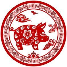 Новогодние вытынанки 2019 шаблоны и картинки на окна - Фото Креатив Chinese New Year Crafts, Happy Chinese New Year, 2019 Chinese Zodiac, New Year's Crafts, Year Of The Pig, Lunar New, Nouvel An, Naive Art, Diy Signs