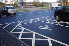 Home in Derbyshire - The best outdoor surface painting company for car park line markings, cycle path colouring, playground repainting and anti slip colourful floor paint.
