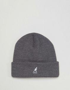 516309edb0b28 Kangol Logo Ribbed Beanie Hat in Gray