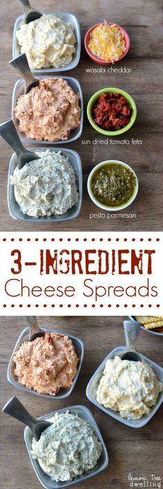 3 Ingredient Cheese Spreads - Wasabi Cheddar, Sun Dried Tomato Feta, and Pesto Parmesan Flavors. All delicious and easy to make! Cheese Recipes, Cooking Recipes, Healthy Recipes, Cheese Snacks, Beer Cheese, Cheese Ball, Cheddar Cheese, Snacks Für Party, Appetizers For Party