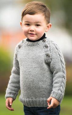 knitted boy's sweater - pattern in Icelandic Baby Knitting Patterns, Baby Boy Knitting, Knitting For Kids, Crochet For Kids, Baby Patterns, Free Knitting, Crochet Baby, Knit Crochet, Diy Crafts Knitting