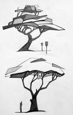 Interior Architecture Drawing, Architecture Drawing Sketchbooks, Landscape Sketch, Landscape Drawings, Tree Sketches, Drawing Sketches, Drawing Ideas, Sketching, Drawing Drawing