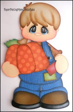 Premade Paper Pieced Boy with Pumpkin for Scrapbook Pages -by Babs