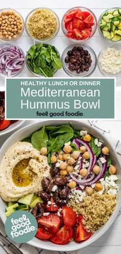 Easy and quick to make, a Mediterranean hummus bowl is a great healthy and filling meal. Made with quinoa, fresh veggies and homemade hummus. Healthy Salad Recipes, Vegetarian Recipes, Cooking Recipes, Homemade Hummus, How To Cook Quinoa, Salad Ingredients, Salads, Easy Meals, Veggies