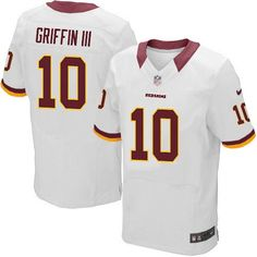 The officially licensed Nike NFL Elite Men's Washington Redskins White #10 Robert Griffin III Jersey provides ultimate breathability so you can enjoy the superior comfort while rooting for your favorite player. This Nike NFL Elite Men's Washington Redskins White #10 Robert Griffin III Jersey is constructed with water-repelling fabric to keep you dry and with a tailored fit to keep you comfortable.$129.99