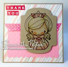 Copic card using The Greeting Farm - Princess no. 4 stamp.    Made by Samantha