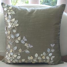 Silver Beauty - Throw Pillow Covers - Inches Silk Pillow Cover with Mother. - Silver Beauty – Throw Pillow Covers – Inches Silk Pillow Cover with Mother of Pearl and - Couch Pillows, Accent Pillows, Throw Pillows, Couch Sofa, Pillow Room, Leather Embroidery, Pearl Embroidery, Silver Pillows, Silver Sofa